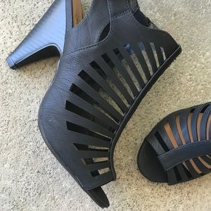 0cd5e78befa Delicious Shoes - Delicious strappy Black ebony peep toe cage heel